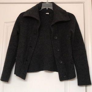 J crew 100% wool dark grey coat